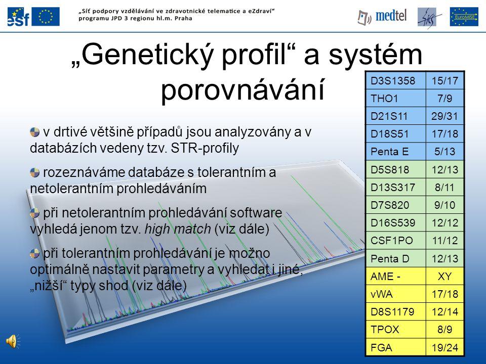 """""""Genetický profil"""" a systém porovnávání D3S135815/17 THO17/9 D21S1129/31 D18S5117/18 Penta E5/13 D5S81812/13 D13S3178/11 D7S8209/10 D16S53912/12 CSF1P"""