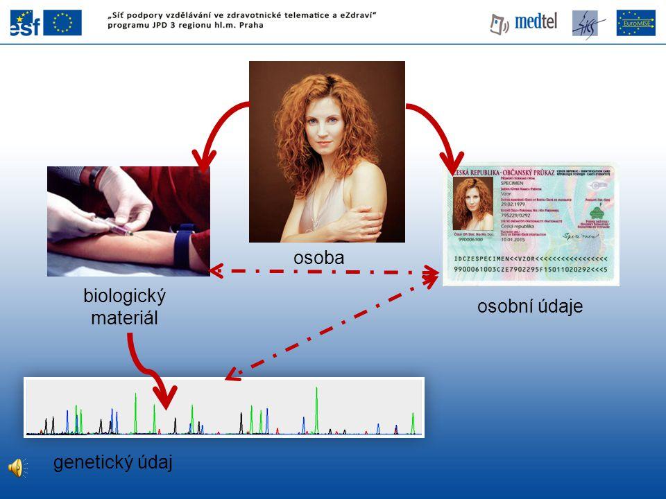 osoba biologický materiál osobní údaje genetický údaj