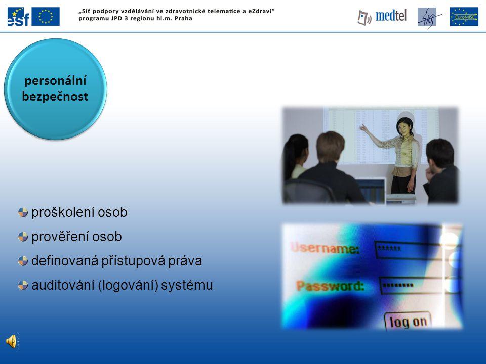 proškolení osob prověření osob definovaná přístupová práva auditování (logování) systému