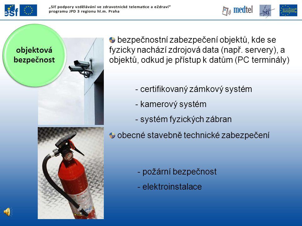 bezpečnostní zabezpečení objektů, kde se fyzicky nachází zdrojová data (např. servery), a objektů, odkud je přístup k datům (PC terminály) obecné stav