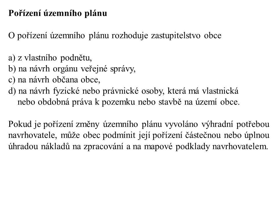 Pořízení územního plánu O pořízení územního plánu rozhoduje zastupitelstvo obce a) z vlastního podnětu, b) na návrh orgánu veřejné správy, c) na návrh