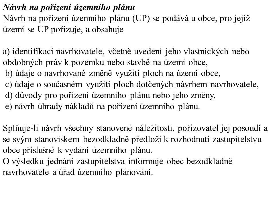 Návrh na pořízení územního plánu Návrh na pořízení územního plánu (UP) se podává u obce, pro jejíž území se UP pořizuje, a obsahuje a) identifikaci na