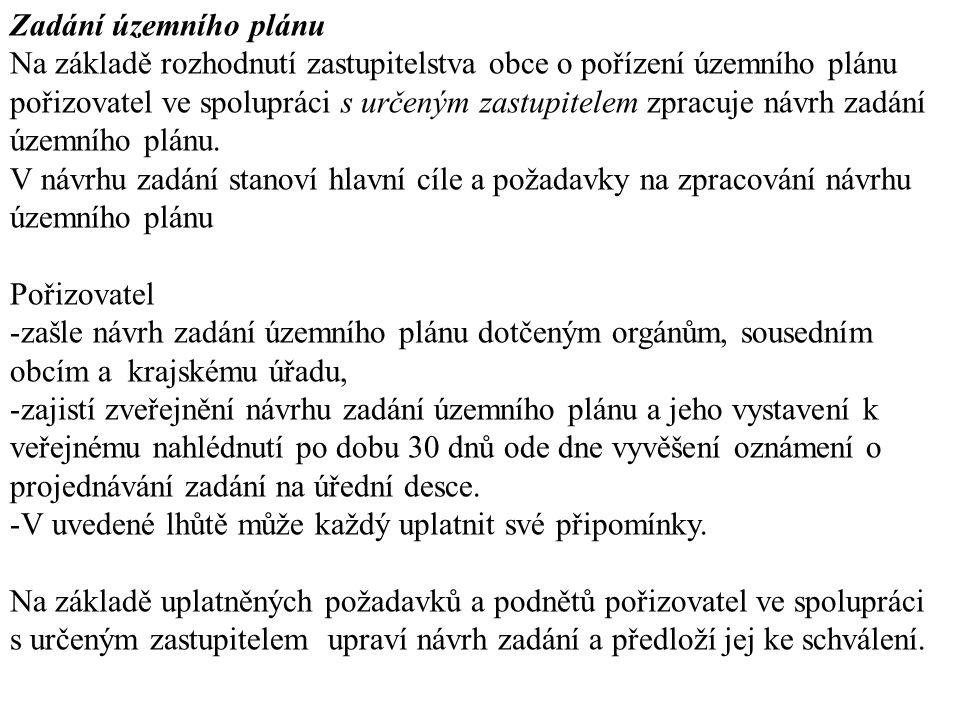 Zadání územního plánu Na základě rozhodnutí zastupitelstva obce o pořízení územního plánu pořizovatel ve spolupráci s určeným zastupitelem zpracuje ná