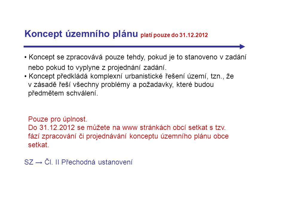 Koncept územního plánu platí pouze do 31.12.2012 Koncept se zpracovává pouze tehdy, pokud je to stanoveno v zadání nebo pokud to vyplyne z projednání zadání.