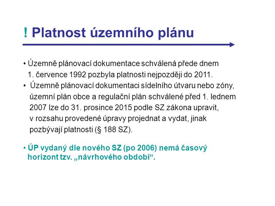 ! Platnost územního plánu Územně plánovací dokumentace schválená přede dnem 1. července 1992 pozbyla platnosti nejpozději do 2011. Územně plánovací do