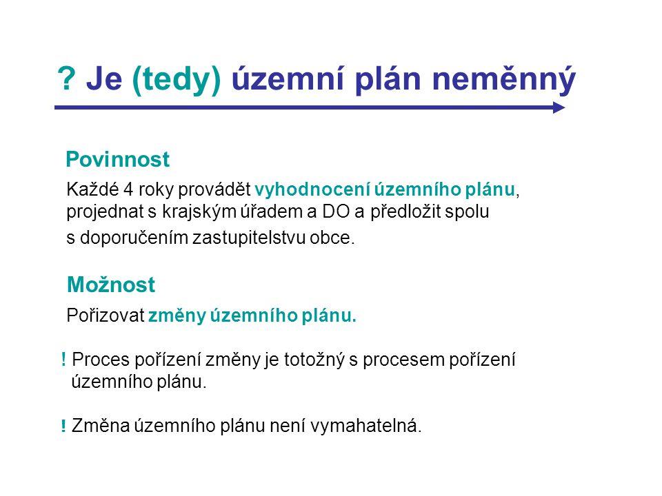? Je (tedy) územní plán neměnný Povinnost Každé 4 roky provádět vyhodnocení územního plánu, projednat s krajským úřadem a DO a předložit spolu s dopor