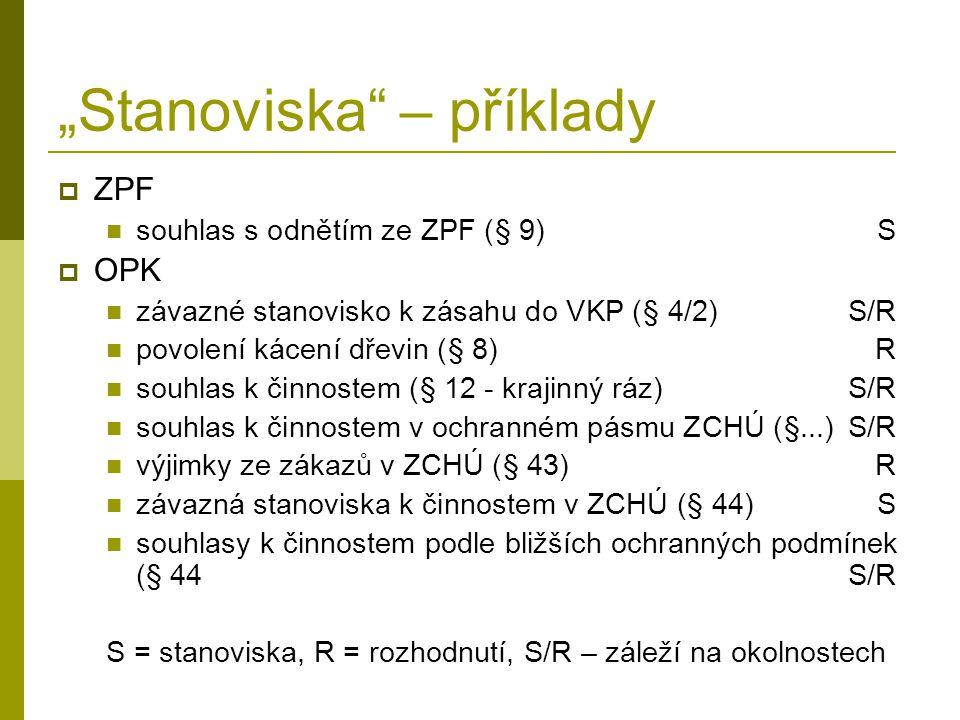 """""""Stanoviska"""" – příklady  ZPF souhlas s odnětím ze ZPF (§ 9)S  OPK závazné stanovisko k zásahu do VKP (§ 4/2)S/R povolení kácení dřevin (§ 8)R souhla"""