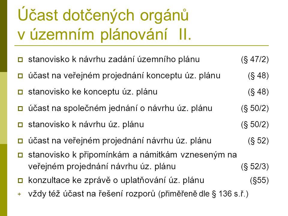 Účast dotčených orgánů v územním plánování II.  stanovisko k návrhu zadání územního plánu (§ 47/2)  účast na veřejném projednání konceptu úz. plánu