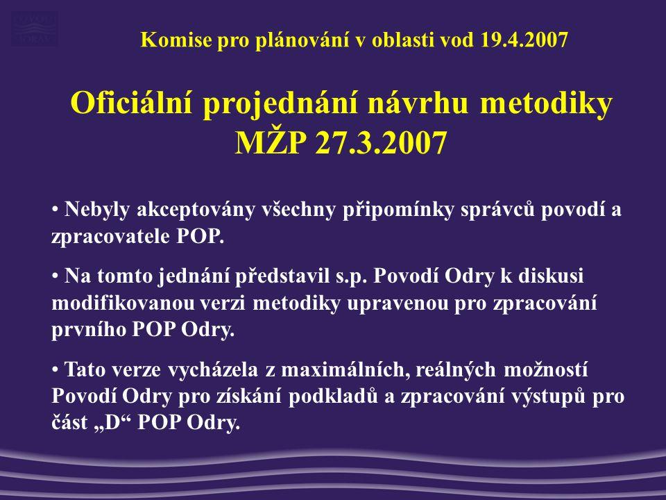 Oficiální projednání návrhu metodiky MŽP 27.3.2007 Nebyly akceptovány všechny připomínky správců povodí a zpracovatele POP.