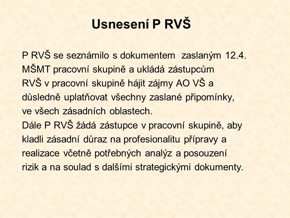 Usnesení P RVŠ P RVŠ se seznámilo s dokumentem zaslaným 12.4.