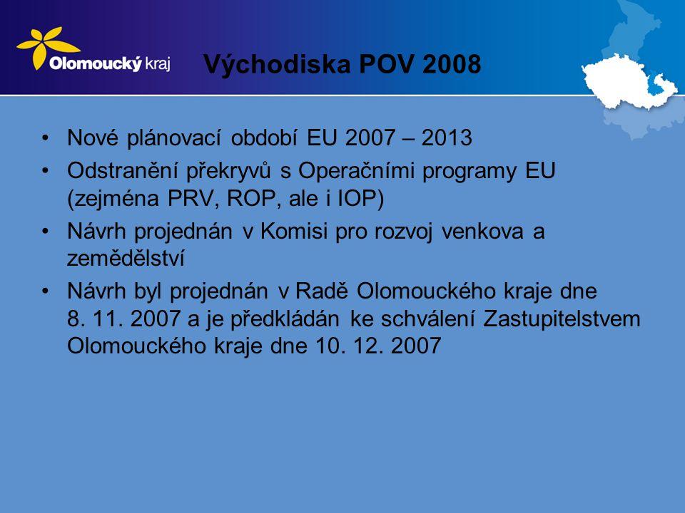 Východiska POV 2008 Nové plánovací období EU 2007 – 2013 Odstranění překryvů s Operačními programy EU (zejména PRV, ROP, ale i IOP) Návrh projednán v Komisi pro rozvoj venkova a zemědělství Návrh byl projednán v Radě Olomouckého kraje dne 8.