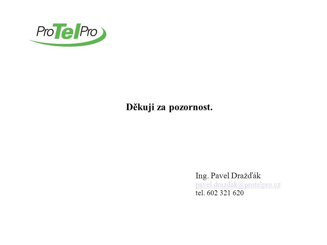 Děkuji za pozornost. Ing. Pavel Dražďák pavel.drazdak@protelpro.cz tel. 602 321 620