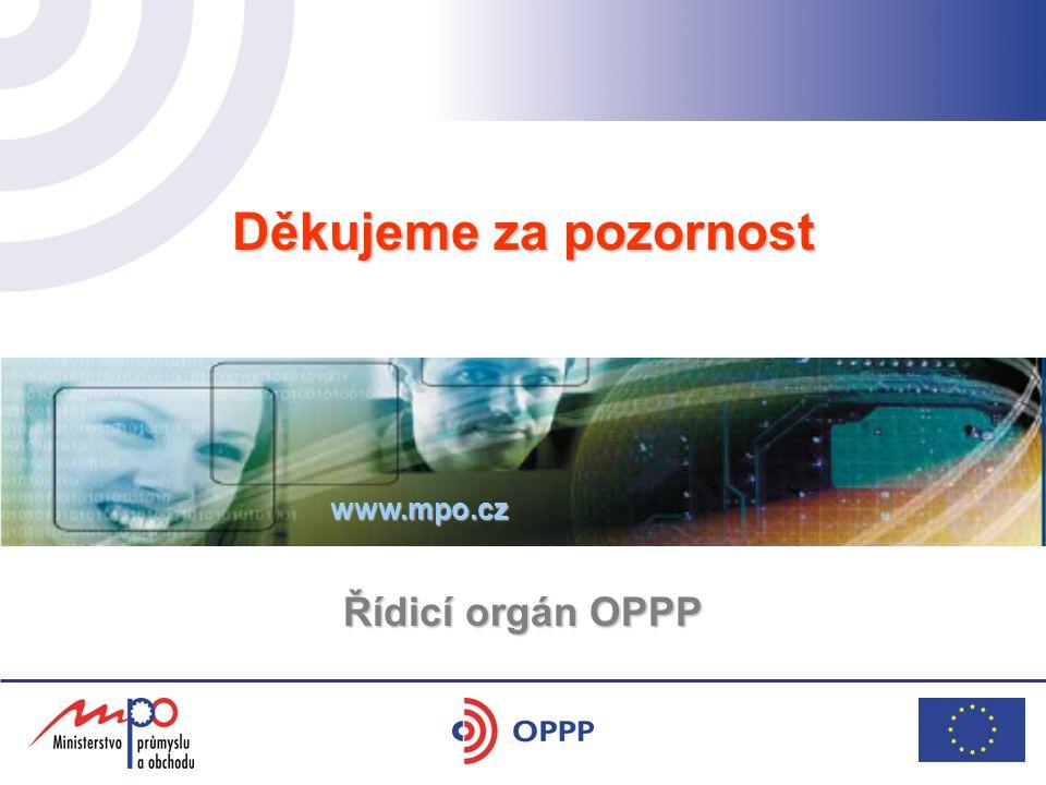 Děkujeme za pozornost Řídicí orgán OPPP www.mpo.cz