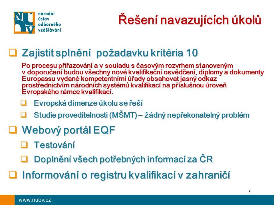 5 Řešení navazujících úkolů  Zajistit splnění požadavku kritéria 10 Po procesu přiřazování a v souladu s časovým rozvrhem stanoveným v doporučení budou všechny nové kvalifikační osvědčení, diplomy a dokumenty Europassu vydané kompetentními úřady obsahovat jasný odkaz prostřednictvím národních systémů kvalifikací na příslušnou úroveň Evropského rámce kvalifikací.
