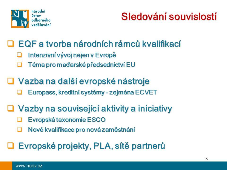 6 Sledování souvislostí  EQF a tvorba národních rámců kvalifikací  Intenzivní vývoj nejen v Evropě  Téma pro maďarské předsednictví EU  Vazba na další evropské nástroje  Europass, kreditní systémy - zejména ECVET  Vazby na související aktivity a iniciativy  Evropská taxonomie ESCO  Nové kvalifikace pro nová zaměstnání  Evropské projekty, PLA, sítě partnerů