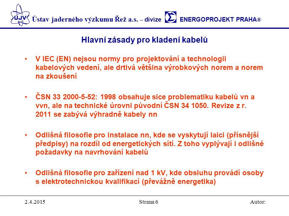 Ústav jaderného výzkumu Řež a.s. – divize ENERGOPROJEKT PRAHA ® 2.4.2015Autor:Strana 6 Hlavní zásady pro kladení kabelů V IEC (EN) nejsou normy pro pr