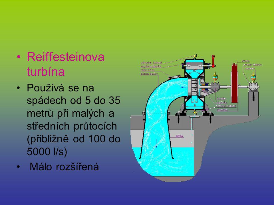 Reiffesteinova turbína Používá se na spádech od 5 do 35 metrů při malých a středních průtocích (přibližně od 100 do 5000 l/s) Málo rozšířená