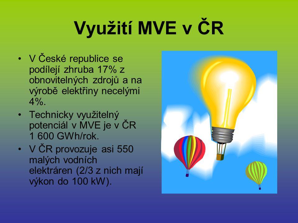 Využití MVE v ČR V České republice se podílejí zhruba 17% z obnovitelných zdrojů a na výrobě elektřiny necelými 4%. Technicky využitelný potenciál v M
