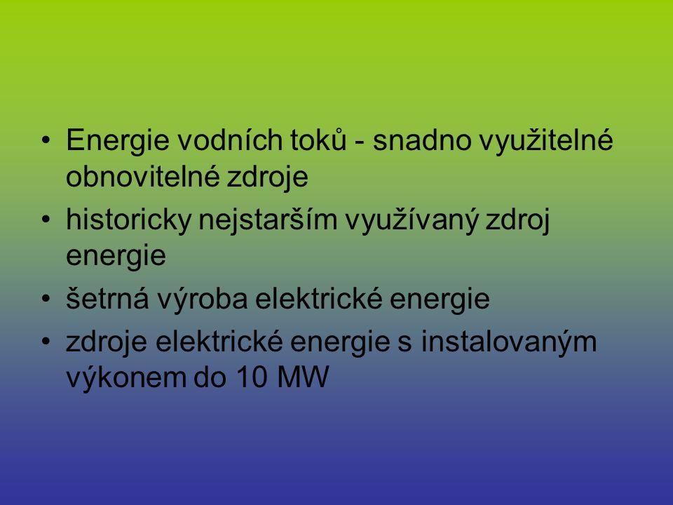 Základní druhy turbín Bánkiho turbína Rovnotlaká turbína Používá se pro spád od 1 do 50 m Ekonomicky výhodná pro spád od 4 m Rozsah průtoků je od 50 l/s do několika m3/s