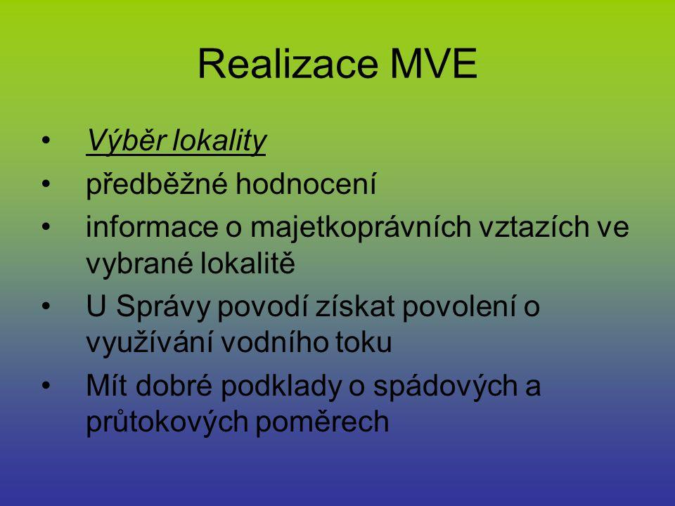 Realizace MVE Výběr lokality předběžné hodnocení informace o majetkoprávních vztazích ve vybrané lokalitě U Správy povodí získat povolení o využívání