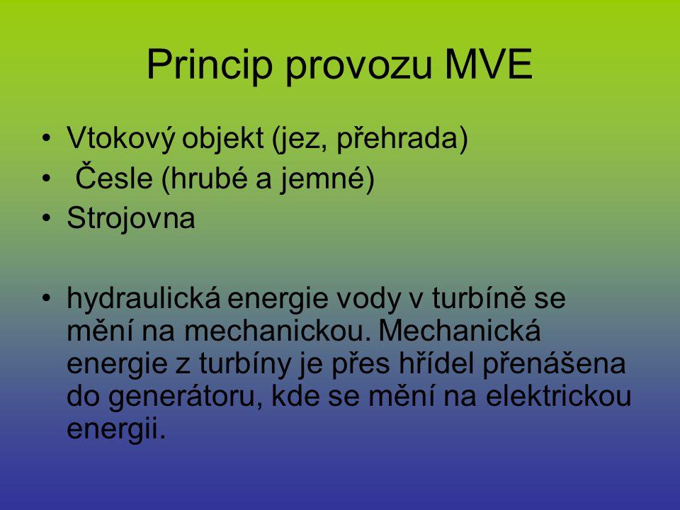 Princip provozu MVE Vtokový objekt (jez, přehrada) Česle (hrubé a jemné) Strojovna hydraulická energie vody v turbíně se mění na mechanickou. Mechanic