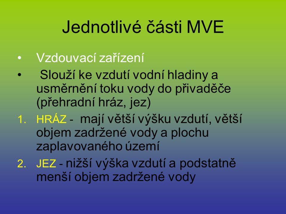 Jednotlivé části MVE Vzdouvací zařízení Slouží ke vzdutí vodní hladiny a usměrnění toku vody do přivaděče (přehradní hráz, jez) 1.HRÁZ - mají větší vý