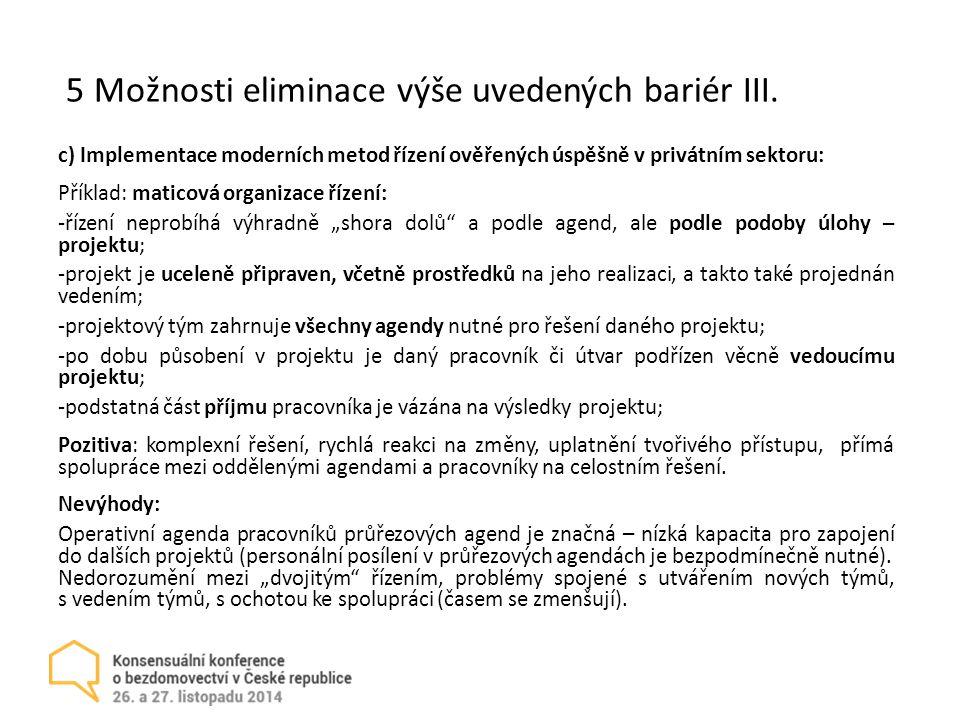 5 Možnosti eliminace výše uvedených bariér III.