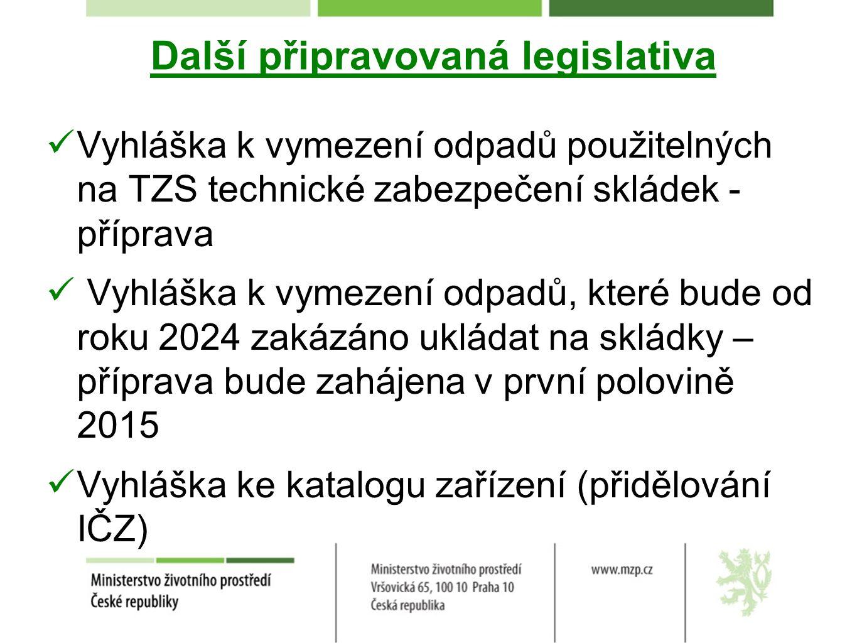 Nové právní předpisy v odpadovém hospodářství Věcné záměry nových zákonů zákon o odpadech zákon o výrobcích s ukončenou životností - baterie, elektrozařízení, pneumatiky, vozidla s ukončenou životností (Předložení věcných záměrů vládě do konce ledna 2015)