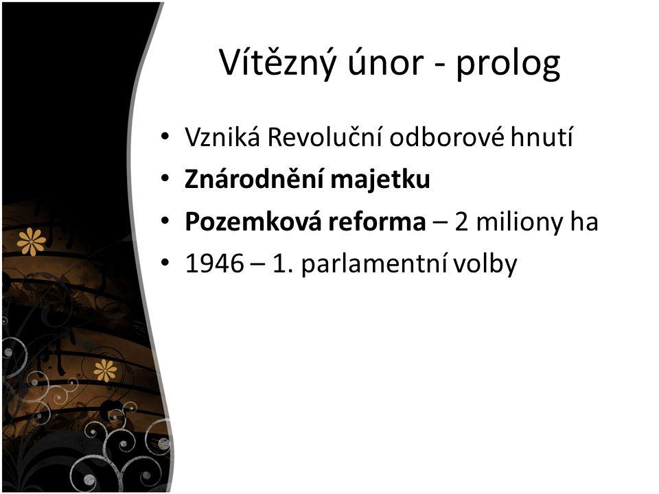 Vítězný únor - prolog Vzniká Revoluční odborové hnutí Znárodnění majetku Pozemková reforma – 2 miliony ha 1946 – 1.