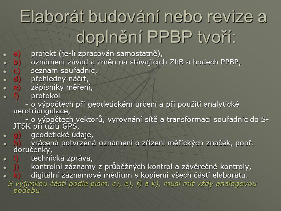 Elaborát budování nebo revize a doplnění PPBP tvoří:  a)projekt (je-li zpracován samostatně),  b)oznámení závad a změn na stávajících ZhB a bodech P