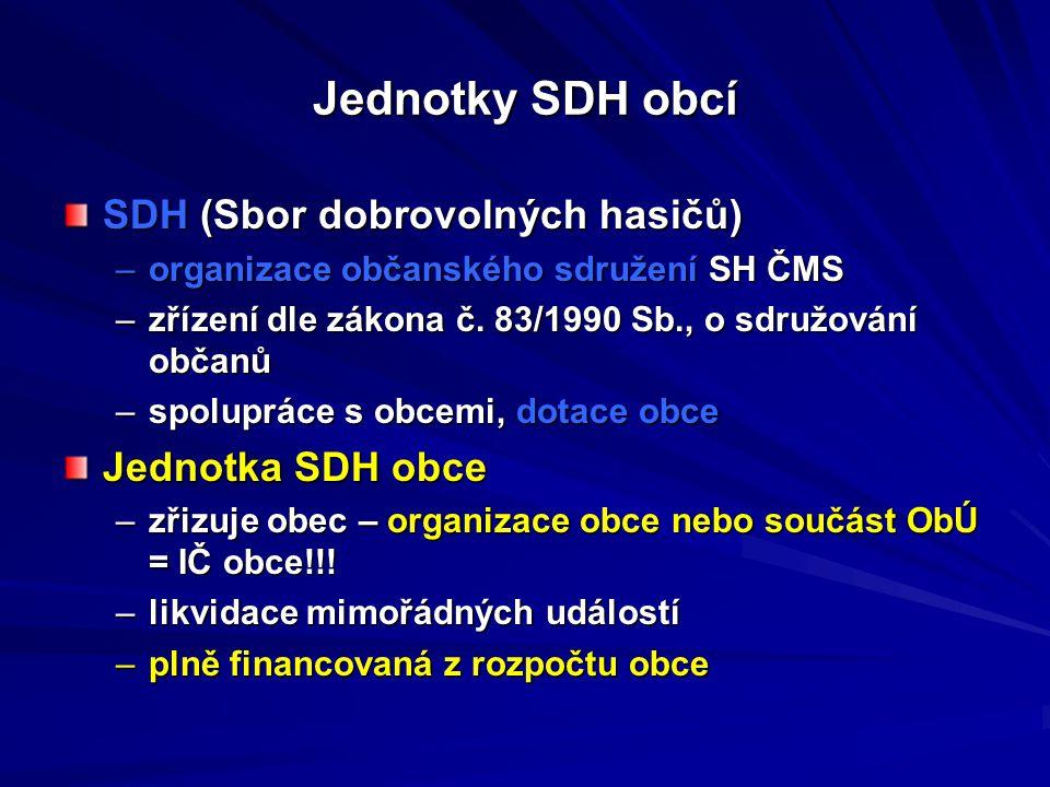 Jednotky SDH obcí SDH (Sbor dobrovolných hasičů) –organizace občanského sdružení SH ČMS –zřízení dle zákona č. 83/1990 Sb., o sdružování občanů –spolu