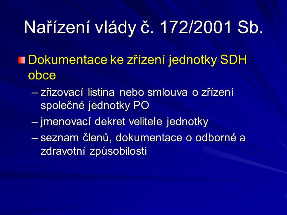 Nařízení vlády č. 172/2001 Sb. Dokumentace ke zřízení jednotky SDH obce –zřizovací listina nebo smlouva o zřízení společné jednotky PO –jmenovací dekr