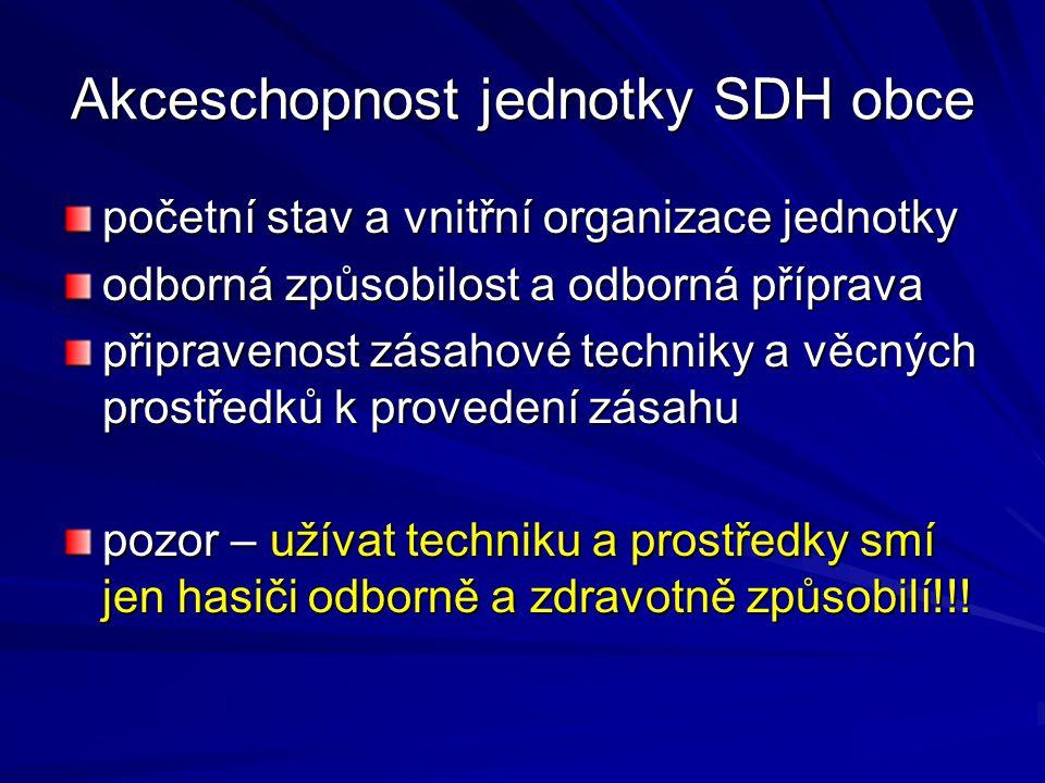 Akceschopnost jednotky SDH obce početní stav a vnitřní organizace jednotky odborná způsobilost a odborná příprava připravenost zásahové techniky a věc
