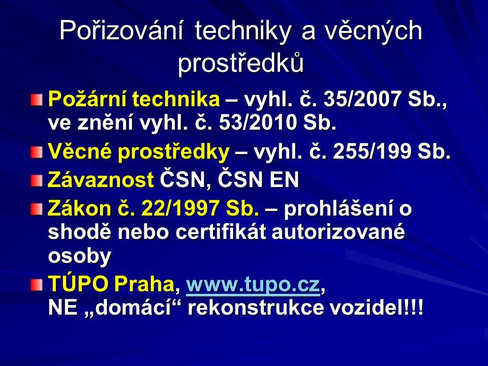 Pořizování techniky a věcných prostředků Požární technika – vyhl. č. 35/2007 Sb., ve znění vyhl. č. 53/2010 Sb. Věcné prostředky – vyhl. č. 255/199 Sb