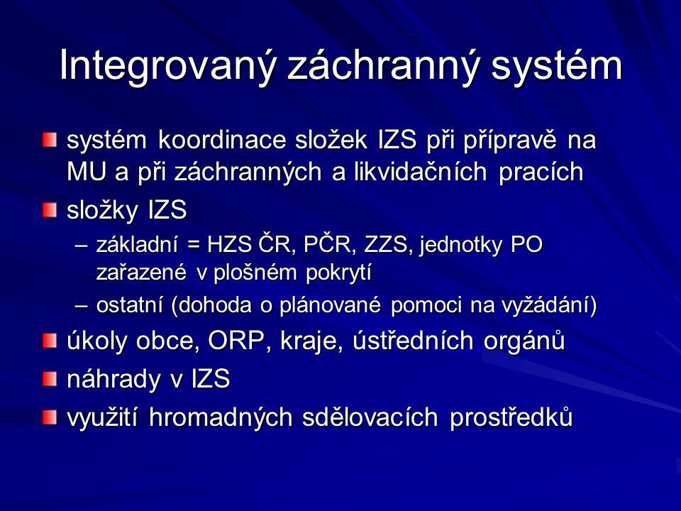 Integrovaný záchranný systém systém koordinace složek IZS při přípravě na MU a při záchranných a likvidačních pracích složky IZS –základní = HZS ČR, P