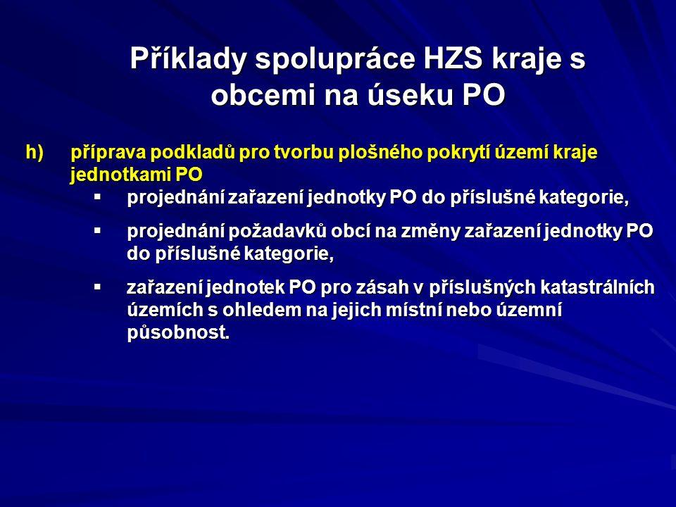 h)příprava podkladů pro tvorbu plošného pokrytí území kraje jednotkami PO  projednání zařazení jednotky PO do příslušné kategorie,  projednání požad