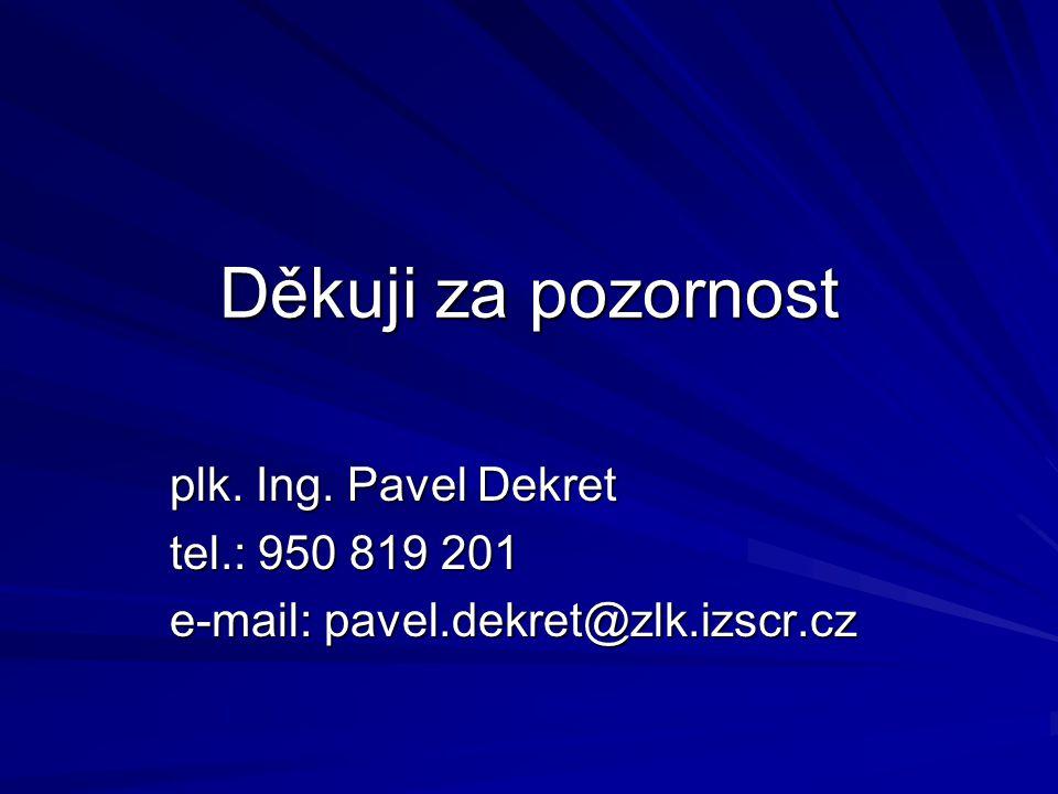 Děkuji za pozornost plk. Ing. Pavel Dekret tel.: 950 819 201 e-mail: pavel.dekret@zlk.izscr.cz