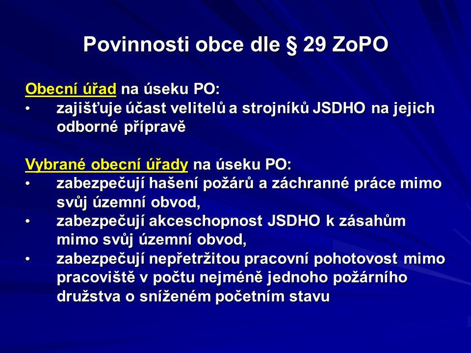 Obecní úřad na úseku PO: zajišťuje účast velitelů a strojníků JSDHO na jejich odborné přípravě zajišťuje účast velitelů a strojníků JSDHO na jejich od