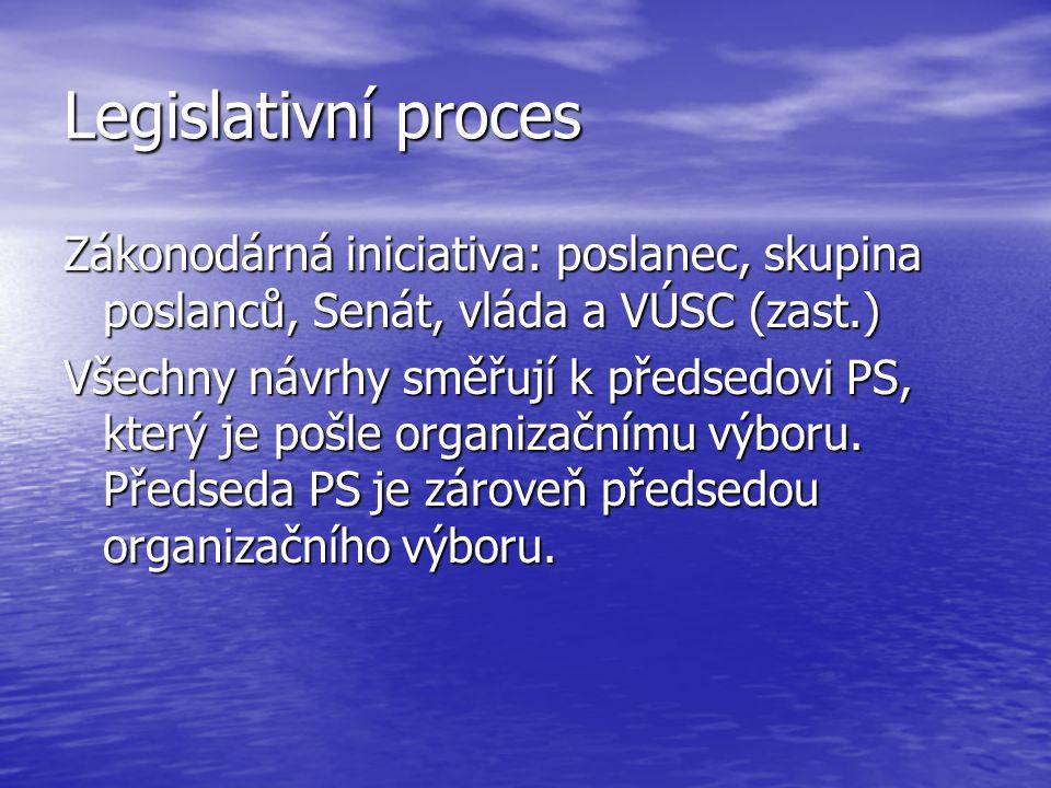 Legislativní proces Zákonodárná iniciativa: poslanec, skupina poslanců, Senát, vláda a VÚSC (zast.) Všechny návrhy směřují k předsedovi PS, který je p