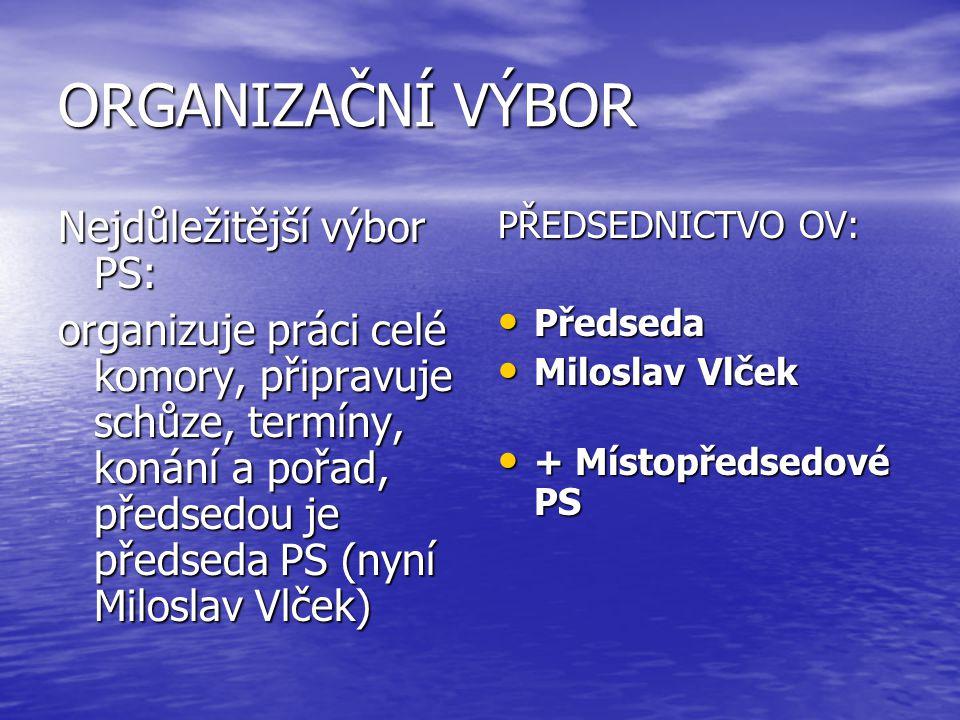 ORGANIZAČNÍ VÝBOR Nejdůležitější výbor PS: organizuje práci celé komory, připravuje schůze, termíny, konání a pořad, předsedou je předseda PS (nyní Mi