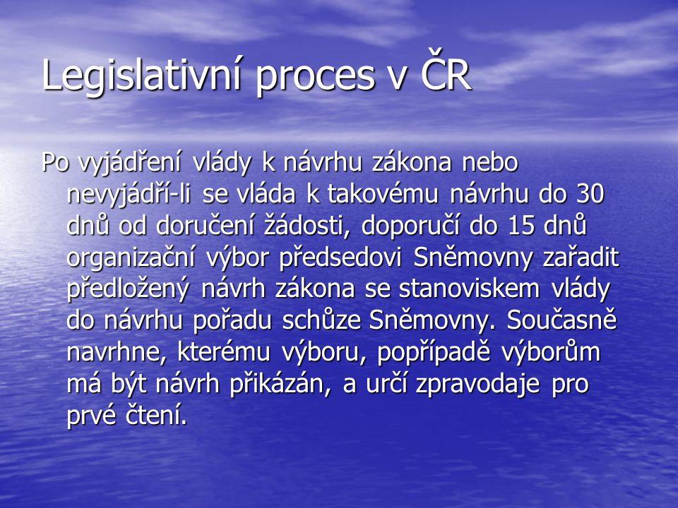 Legislativní proces v ČR Po vyjádření vlády k návrhu zákona nebo nevyjádří-li se vláda k takovému návrhu do 30 dnů od doručení žádosti, doporučí do 15