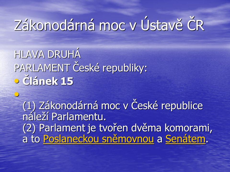 Zákonodárná moc v Ústavě ČR HLAVA DRUHÁ PARLAMENT České republiky: Článek 15 Článek 15 (1) Zákonodárná moc v České republice náleží Parlamentu. (2) Pa