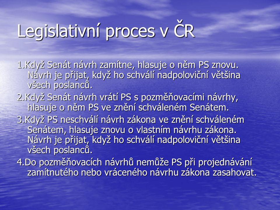 Legislativní proces v ČR 1.Když Senát návrh zamítne, hlasuje o něm PS znovu. Návrh je přijat, když ho schválí nadpoloviční většina všech poslanců. 2.K