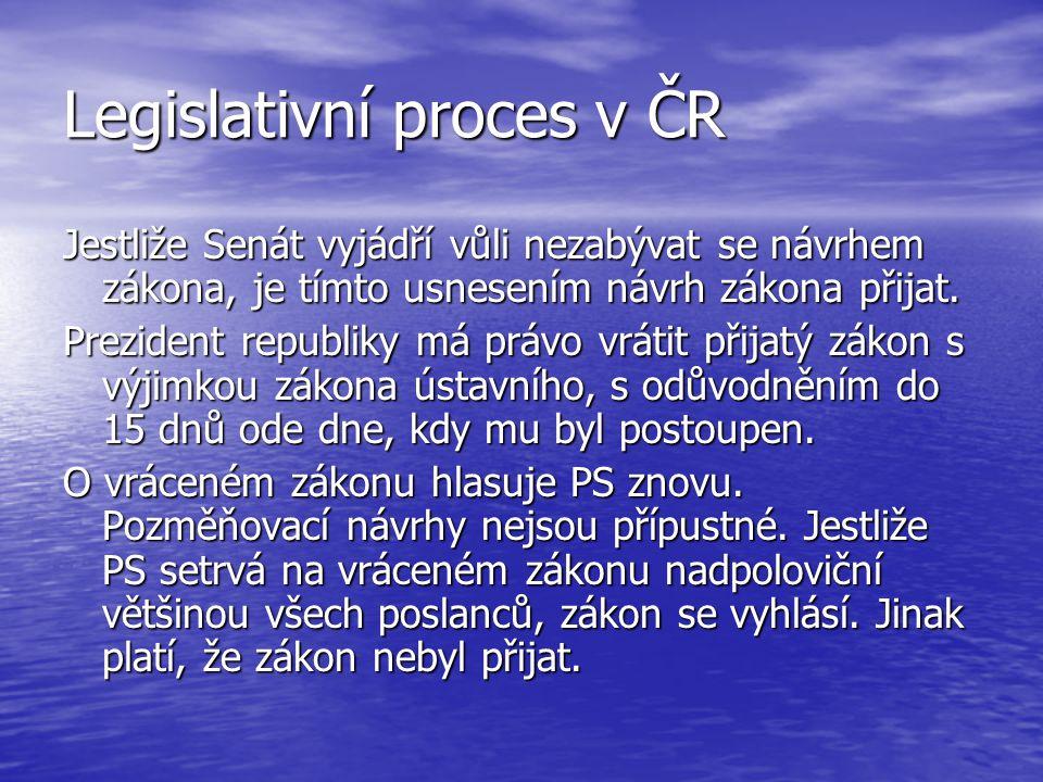 Legislativní proces v ČR Jestliže Senát vyjádří vůli nezabývat se návrhem zákona, je tímto usnesením návrh zákona přijat. Prezident republiky má právo
