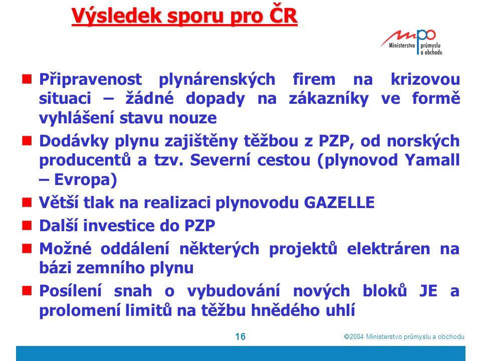  2004  Ministerstvo průmyslu a obchodu 16 Výsledek sporu pro ČR Připravenost plynárenských firem na krizovou situaci – žádné dopady na zákazníky ve formě vyhlášení stavu nouze Dodávky plynu zajištěny těžbou z PZP, od norských producentů a tzv.