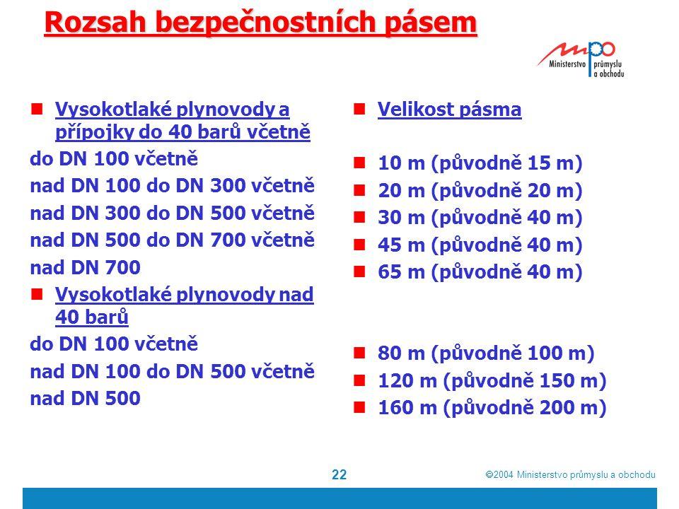  2004  Ministerstvo průmyslu a obchodu 22 Rozsah bezpečnostních pásem Vysokotlaké plynovody a přípojky do 40 barů včetně do DN 100 včetně nad DN 100 do DN 300 včetně nad DN 300 do DN 500 včetně nad DN 500 do DN 700 včetně nad DN 700 Vysokotlaké plynovody nad 40 barů do DN 100 včetně nad DN 100 do DN 500 včetně nad DN 500 Velikost pásma 10 m (původně 15 m) 20 m (původně 20 m) 30 m (původně 40 m) 45 m (původně 40 m) 65 m (původně 40 m) 80 m (původně 100 m) 120 m (původně 150 m) 160 m (původně 200 m)