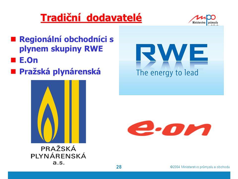  2004  Ministerstvo průmyslu a obchodu 28 Tradiční dodavatelé Regionální obchodníci s plynem skupiny RWE E.On Pražská plynárenská