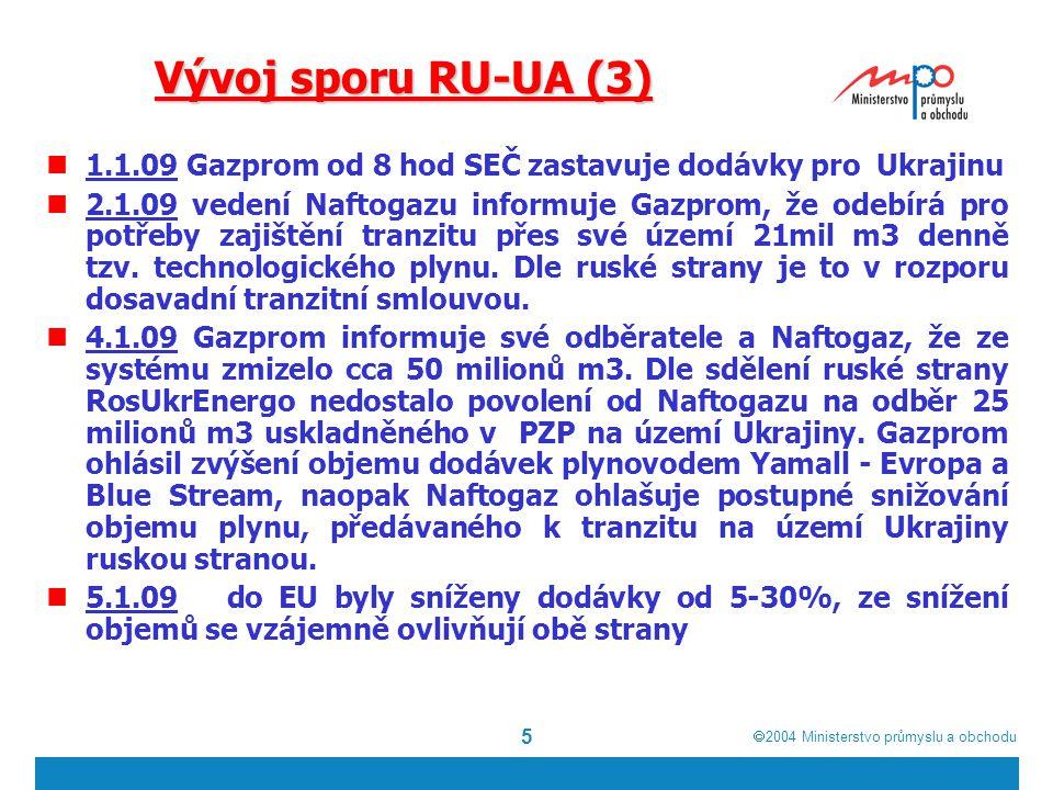  2004  Ministerstvo průmyslu a obchodu 5 Vývoj sporu RU-UA (3) 1.1.09 Gazprom od 8 hod SEČ zastavuje dodávky pro Ukrajinu 2.1.09 vedení Naftogazu informuje Gazprom, že odebírá pro potřeby zajištění tranzitu přes své území 21mil m3 denně tzv.