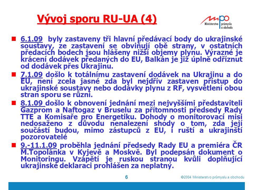 2004  Ministerstvo průmyslu a obchodu 6 Vývoj sporu RU-UA (4) 6.1.09 byly zastaveny tři hlavní předávací body do ukrajinské soustavy, ze zastavení se obviňují obě strany, v ostatních předacích bodech jsou hlášeny nižší objemy plynu.