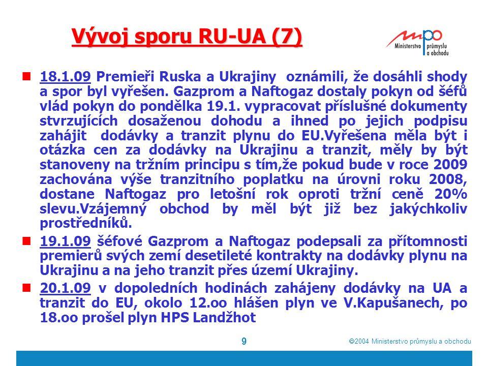  2004  Ministerstvo průmyslu a obchodu 9 Vývoj sporu RU-UA (7) 18.1.09 Premieři Ruska a Ukrajiny oznámili, že dosáhli shody a spor byl vyřešen.